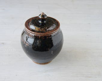 Seconds: DISCOUNTED  Wheel Thrown  brown lidded bowl