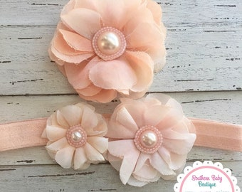 NEW--Boutique Baby Girl Toddler Headband--Peach--Big Sister and Me Set---Photo Prop