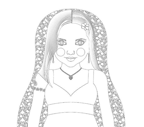 Holly 21st Century American Woman Matryoshka Coloring Sheet file