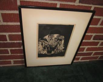 Vintage Framed Original Etching of Jewish Rabbi Signed Joseph Margulies