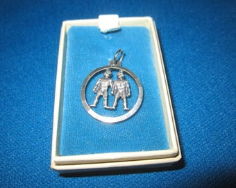 Vintage 1960s Sterling Silver Gemini Twins Pendant Charm New Old Store Stock