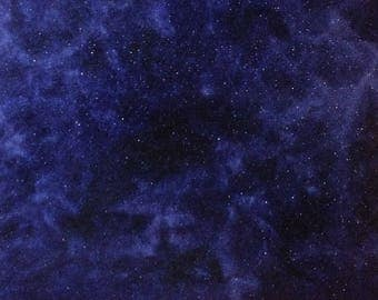 Hand Dyed Felted Wool Fabric, MIDNIGHT CLEAR, Fat Quarter piece in Mottled Navy Blue with Silver Sparkles, Great for Backgrounds
