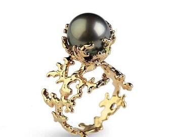 SALE 20% Off - CORAL Tahitian Pearl Ring, Black Pearl Engagement Ring, Gold Pearl Engagement Ring, Gold Engagement Ring