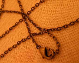 Antiqued Brass Tiny Chain Choker Necklace Blank with Lobster Clasp  14 inch