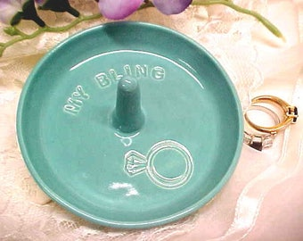 Turquoise Ring Dish | Blue Pottery | Engraved with MY BLING and Stamped Diamond Ring | Ready to Ship