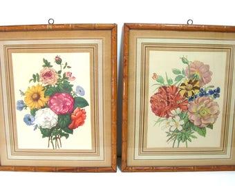 Vintage Floral Prints in Faux Bamboo Frames, Pair of Framed Prints