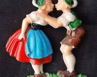 Vintage Plastic Boy & Girl Kissing Kiss Me Pin C Clasp