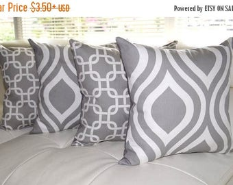 Grey and White STUFFED Pillows, Emily Storm Grey Quatrefoil Pillow, Gotcha Gray White Chain Link Decorative Throw Pillows - 4 Pk - Free Shi