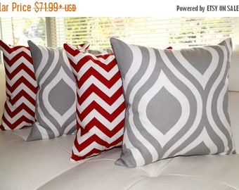 Premier Prints Emily Storm Grey and Zig Zag Chevron Lipstick Red Decorative Throw Pillows - 4 Pack Free Shipping