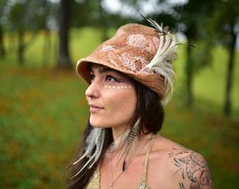 Felt Fedora Hat-Felt Vintage Doily Hat-Emu Feather Fedora-Felt Leaf Hat-Pixie Hat-Woodland Hat-Wedding Hat-Silk Hat-Fedora-Felt Wool HatOOAK