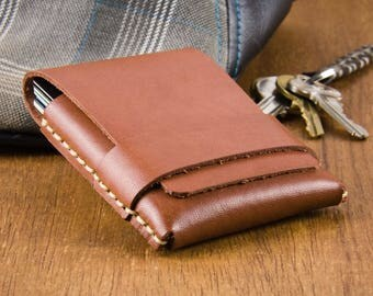 Minimalist Leather Wallet - Slim Wallet Mens - Gifts for Him 2017 - Leather Cardholders - Mens Wallet - Card Case Wallet  -  FREE SHIPPING