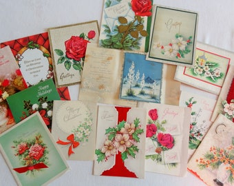 Christmas Roses and Other Holiday Flowers Adorn Greeting Cards in Vintage Christmas Lot No 1206 Total of 14 Yucca in Bloom Too!