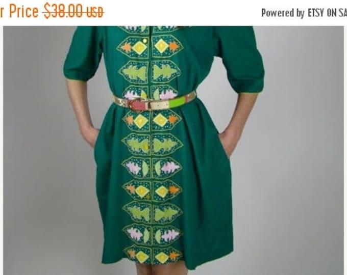 sale Vintage Dress, Green Dress, Ethnic Dress, Embroidered Dress, Hippie Dress, Indie Dress, Cotton Dress, Global Dress, 80s Dress, Beach Dr