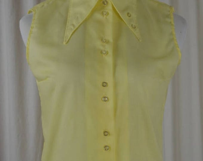 sale Vintage Blouse,Yellow Top, 70s Top, Button Down, Preppy Top, Sleeveless Top, Dead Stock, Sock Hop Shirt, 1970s Blouse, Spring Shirt,