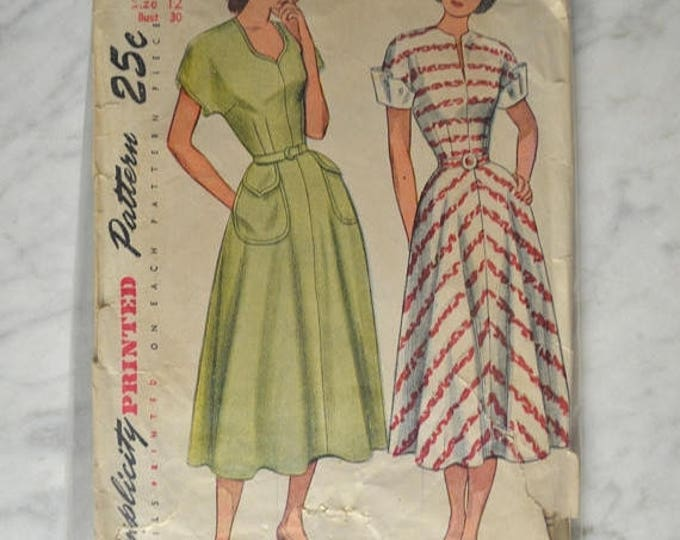 sale 1950s Simplicity Pattern, Simplicity 2394, One Piece Dress, Summer Dress, Swing Dress, Day Dress, Rockabilly Dress Pattern