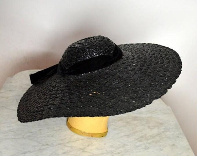 sale Vintage Hats, 40s Hat, Wide Brim Hat, Black Hat, Sun Hat, Summer Hat, Straw Hats, Black Straw Hat, 1940s Hat, Millinery Hat, Pin Up Hat