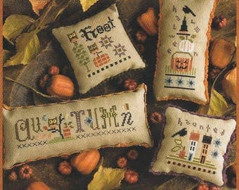 Lizzie Kate Autumn Smalls #185 Counted Cross Stitch Pattern with Buttons