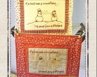 Blueberry Backroads - Snowflake Kisses 083 - Snowmen hand embroidery pattern