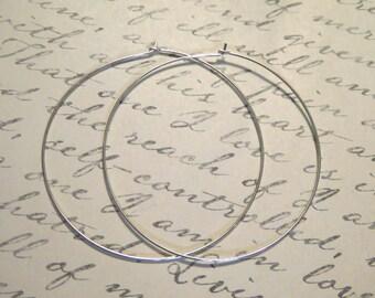 2 inch Hoop Earrings Earwires / Sterling Silver or 14k Gold Filled Hoops / 1-25pairs, organic artisan interchangeable hoops  ihl.p solo ih