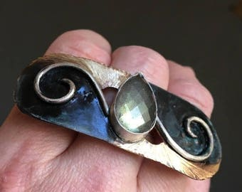 Ready to ship SALE Labradorite Cleopatra meets Art Nouveau bronze and sterling ring