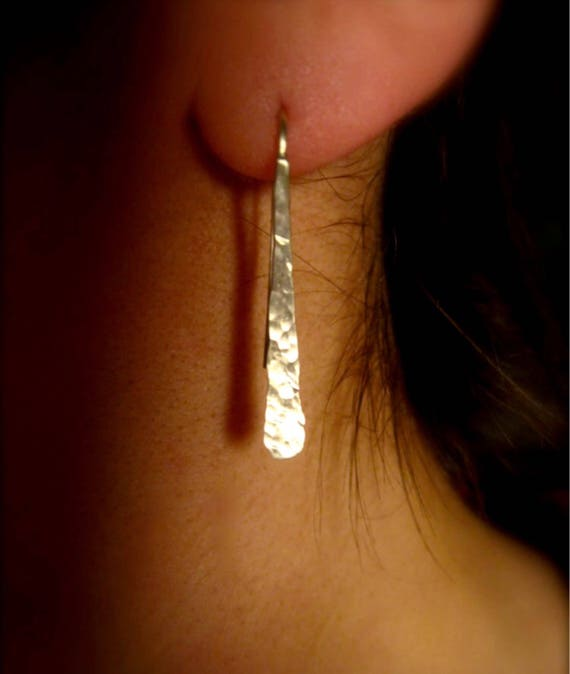 Sm hammered curved stick  ear wire in copper, bronze or with sterling silver ear wires