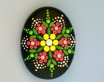 Zen garden-yoga accessories-meditation stone-mandala stones-ooak 3D neon dot art-pink flower-pointillism-painted rocks-summertime gift ideas