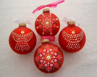 Hand painted red glass Christmas tree ornaments 4 pack Holiday Decor Christmas last minute gifts host hostess coworker exchange gift ideas