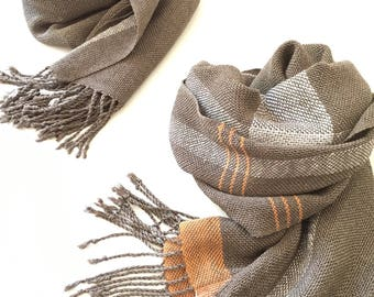 Silk Scarf Handwoven with linen and orange cashmere