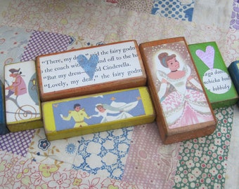 Set of Seven Vintage Style Wooden Toy Blocks CINDERELLA