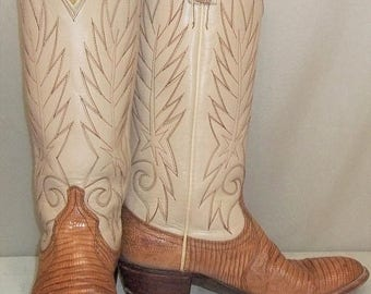 SUMMER SALE Vintage Women's Lizard Leather Beige Tan Cowboy Western Boots 6 1/2 M