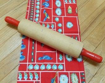 vintage rolling pin, wooden, red handles, vintage kitchen, kitchen utensils