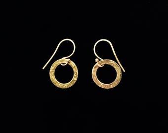 Dainty Donut Dangle Earrings Solid Textured Brass