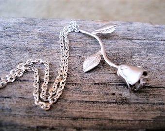 Silver Rose Necklace Silver Rose Pendant Long Stemmed Rose Necklace Gift for Her Rose Jewelry