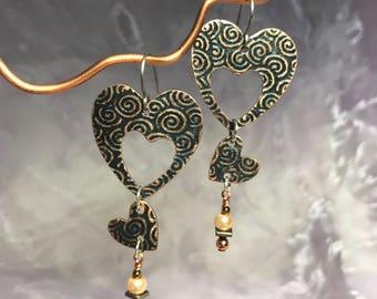 Heart Dangle Earrings - Long Earrings - Copper Heart Earrings - Nickle Free