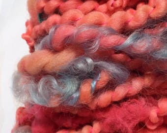 Kiss my grits- Handspun, Hand Dyed, Art Yarn
