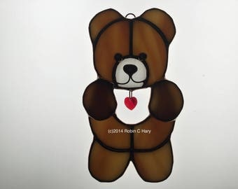 Teddy Valentine Stained Glass Sun catcher