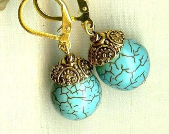 Earrings TURQUOISE ball ♥ ♥ OR390