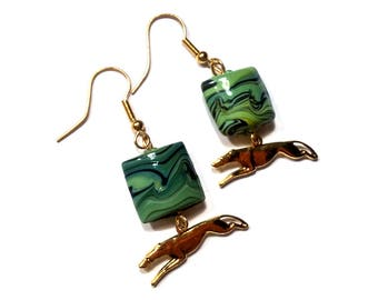 Greyhound Dog Earrings: green and black bead with gold running greyhound charm