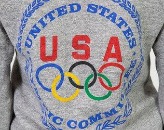The Vintage Heather Gray USA Olympic Committee Crewneck 50/50 Sweatshirt