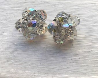 Vintage Laguna Aurora Borealis AB Flower Shape Clip On Earrings