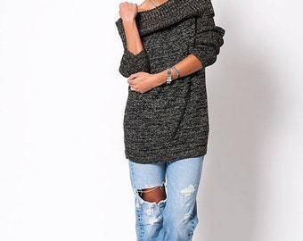 40% OFF The Vintage Metallic Black Holiday Off The Shoulder Sweater