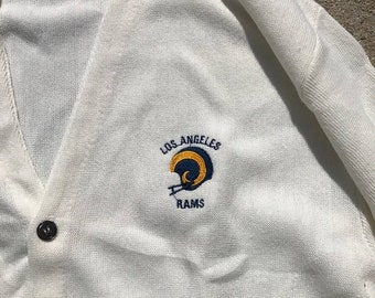 40% OFF The Vintage Los Angeles Rams Football White USA-made Cardigan Sweater
