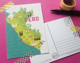 Peru Postcard / South America Postcard / Peru Map Illustration / South America Map