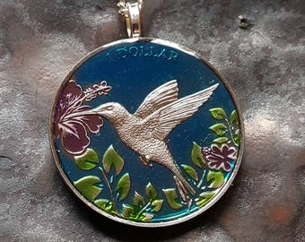 British Virgin Islands - Hummingbird Coin Pendant - Hand Painted