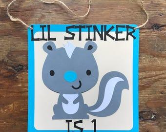 Lil Stinker Skunk 1st Birthday Door Hanger