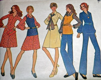 """Vintage 1970s Sewing Pattern, McCall's 3298, Misses' Dress or Blouse, Top and Pants, Misses' Size 12, Bust 34"""""""