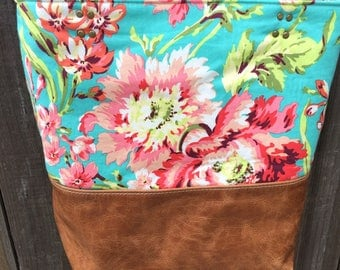 Tote Purse with distressed leather Floral Fabric Custom Design your own with pockets inside Carmel leather bag handmade leather tote