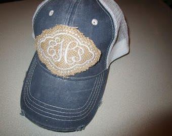 Burlap Monogram Patch Trucker Hat