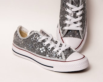 Organza - Silver Canvas Converse All Star Low Top Sneakers Shoes