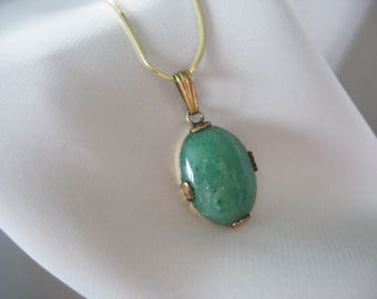 """Aventurine Pendant Necklace, Green, 14k Gold, Snake Chain, 12kGF Setting, Linear, 15"""", Gemstone, Oval, Good Quality"""